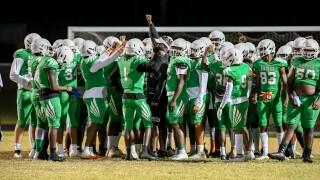 TJ Jackson, head coach of Atlantic Community High School Eagles football team after playoff game in December 2020
