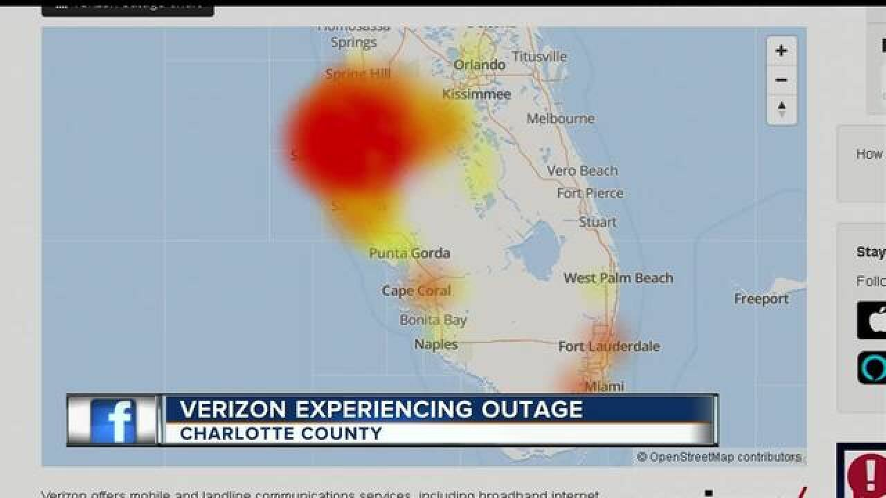 Verizon outages are being reported in southwest and central