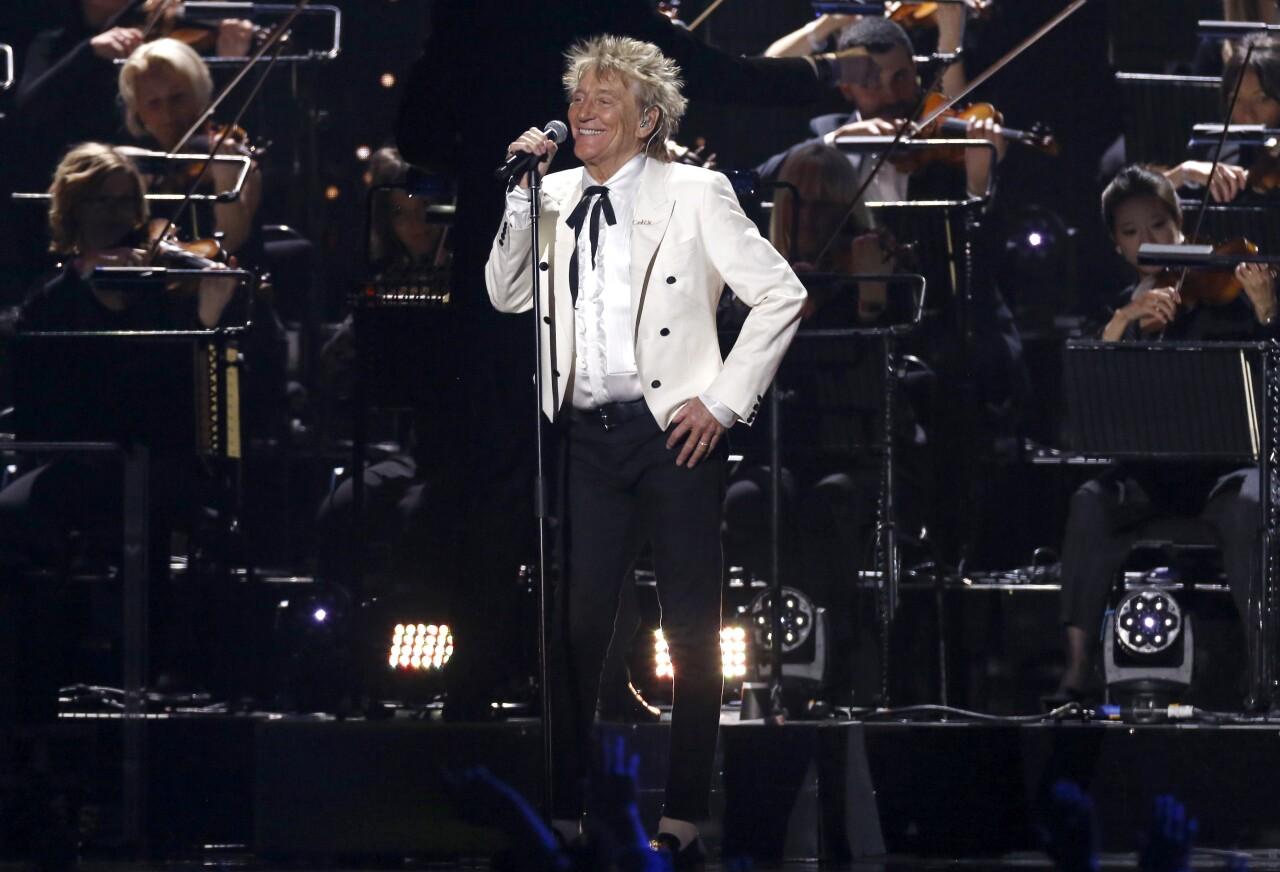 Rod Stewart performs in London in February 2020
