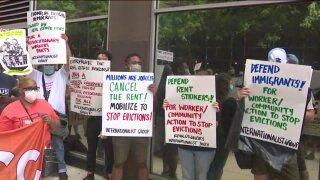 eviction moratorium protest cancel rent