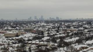 Milwaukee snowy skyline
