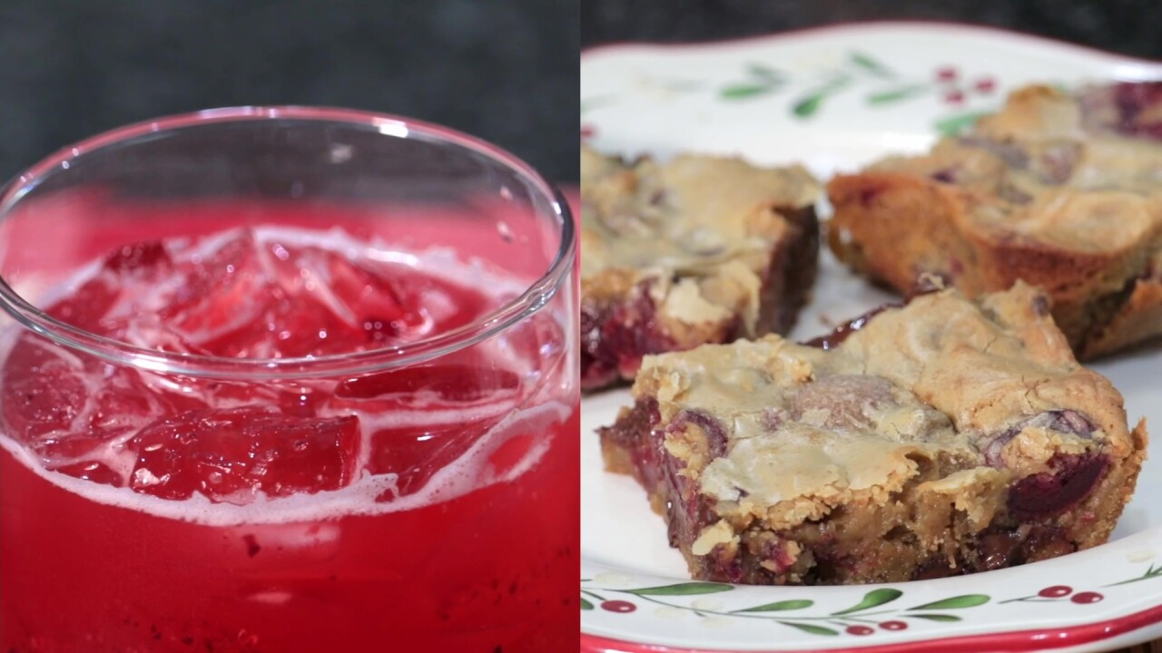 A split-screen image showing the plated Chocolate Chip Cherry Blondies and a glass of the finished Cherry Limeade