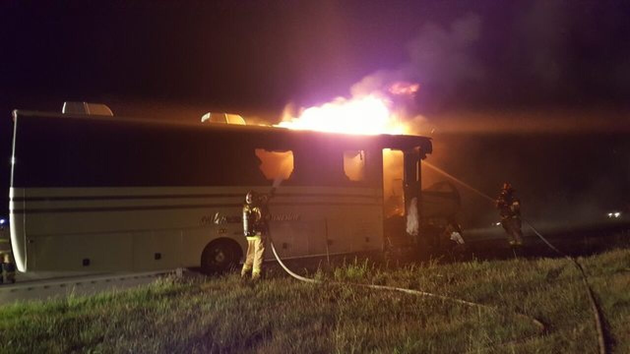 Limo bus goes up in flames on the Thruway