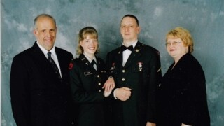 US Army veteran Becca Irwin and family