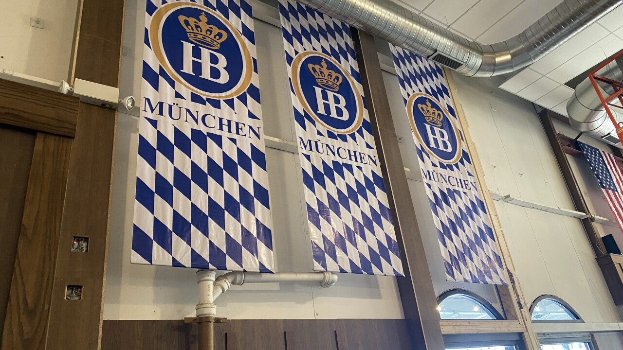 The inside of Hofbrauhaus will open in the m