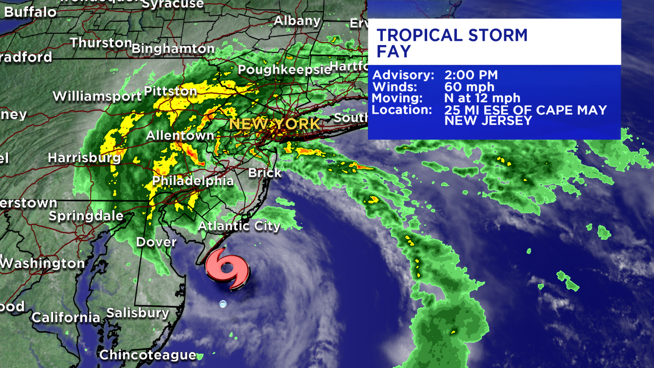 Tropical Storm Fay to bring torrential downpours, gusty winds Friday