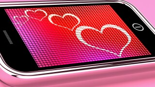 Hearts On Mobile Phone Screen Shows Online Dating