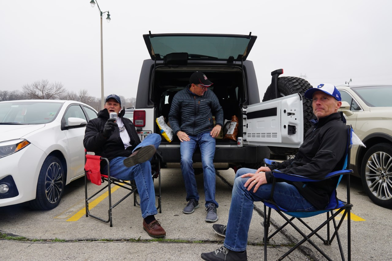 Brewers fans tailgating outside of Miller Park