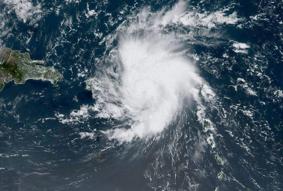 Tropical Storm Dorian bears down on Puerto Rico in a satellite image from NOAA captured on Aug. 28, 2019.