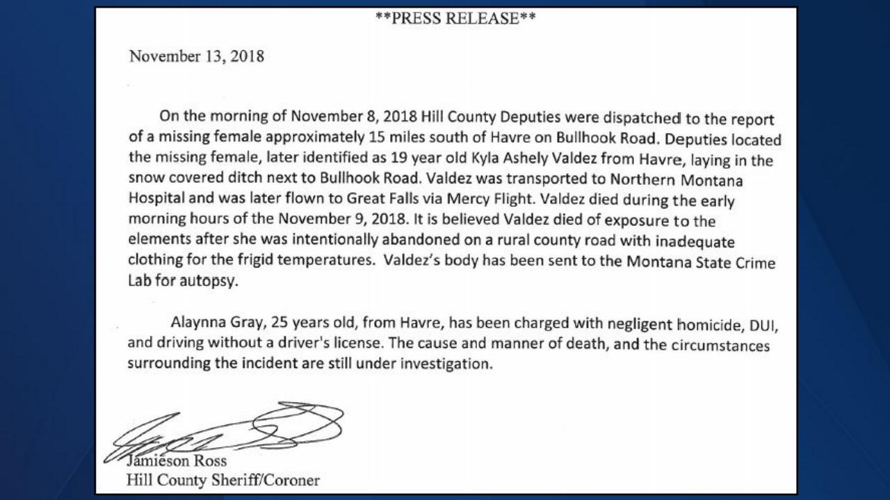 Gray sentenced for the freezing death of Kyla Valdez