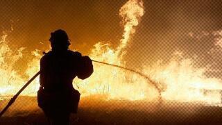 Firefighter fire hose night