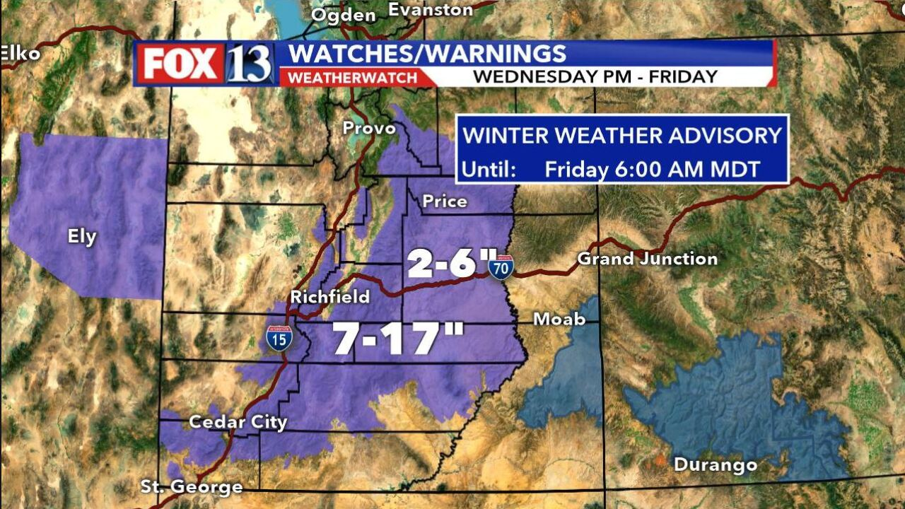 Winter storm to arrive in southern Utah Wednesday afternoon, move north Thursday