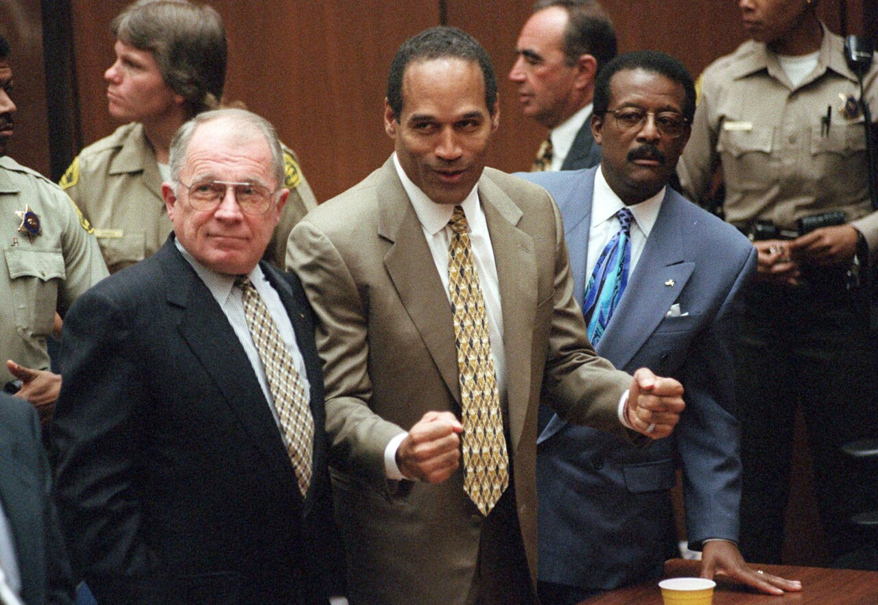 O.J. Simpson after murder trial acquittal in 1995