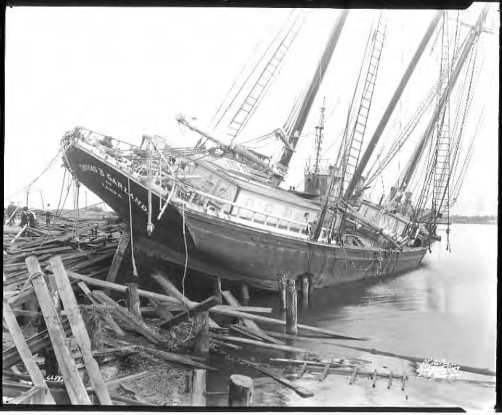 Hurricane-damaged ship Thomas B. Garland tossed onto docks  Tampa, Fla..png