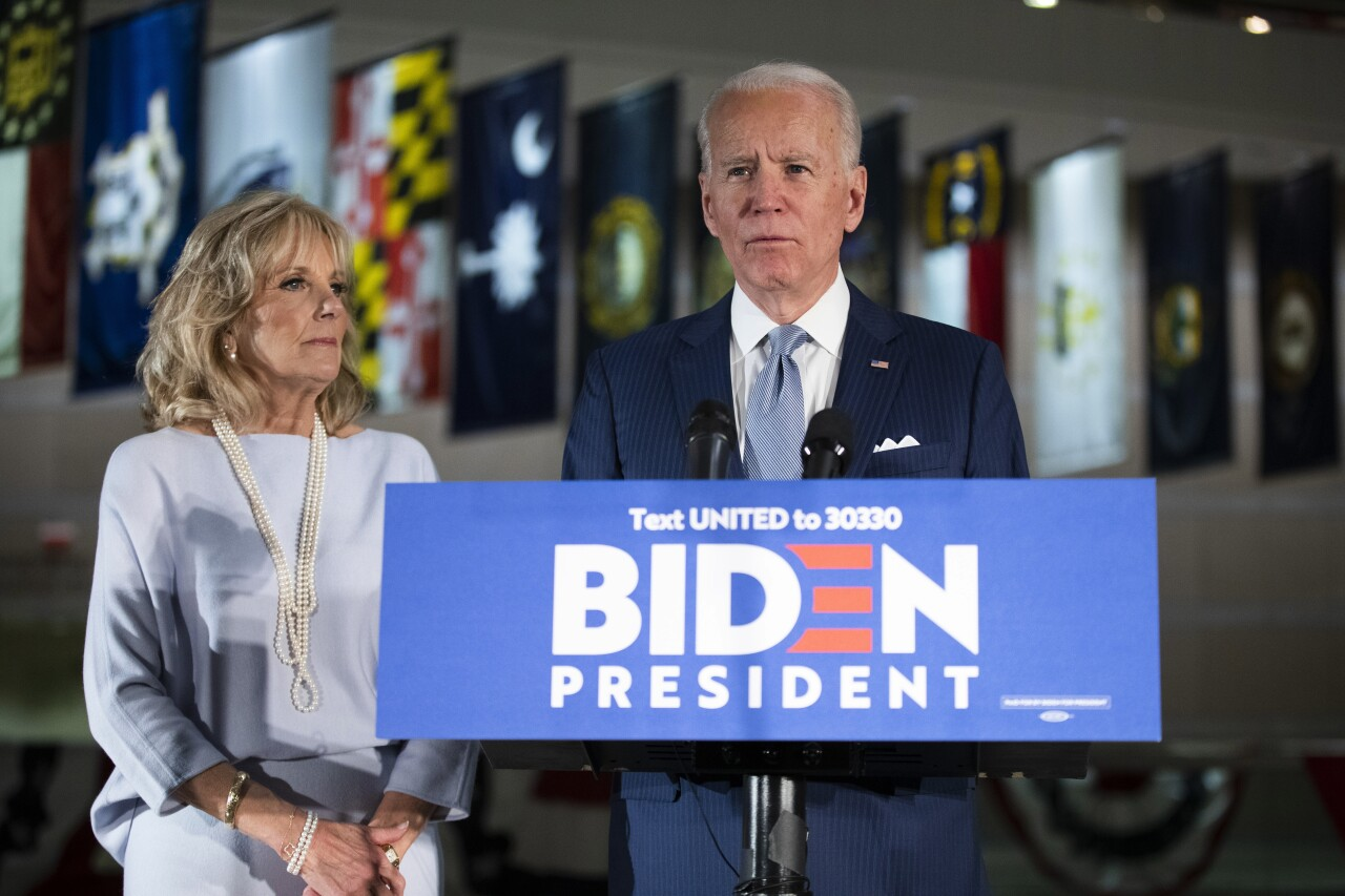 Jill and Joe Biden in March 2020