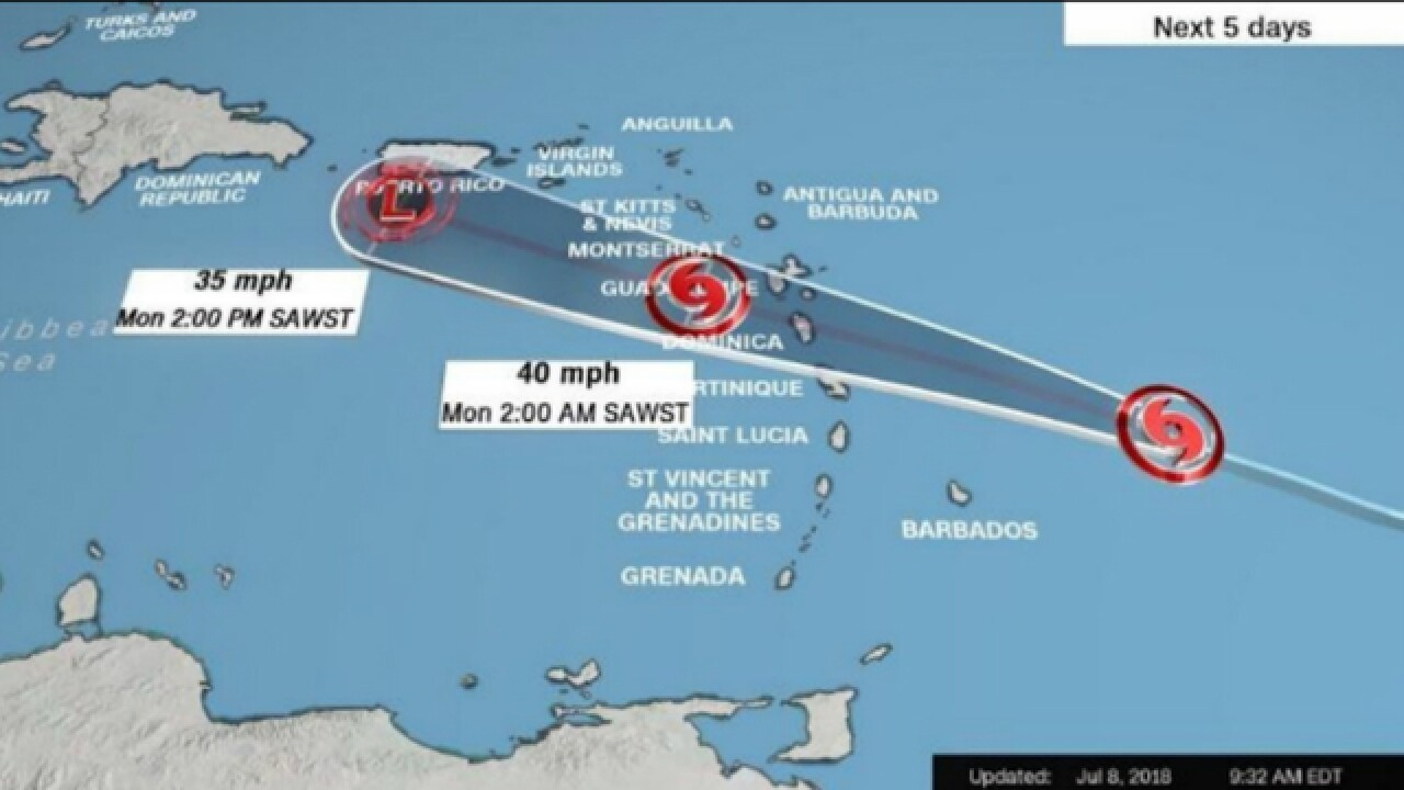 Tropical Storm Beryl weakens but still pushing toward Puerto Rico