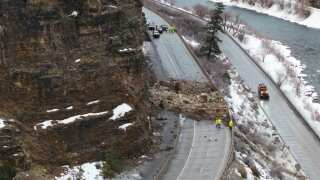 Moving boulders to clear the way on I-70