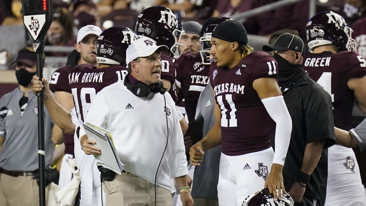 Texas A&M Aggies head coach Jimbo Fisher and QB Kellen Mond in September 2020