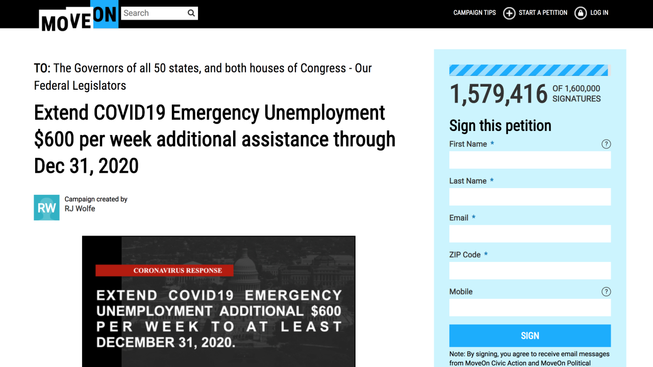 move on federal unemployment petition