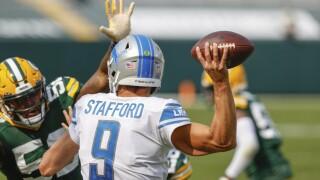 Detroit Lions at Green Bay Packers football Matthew Stafford throwing pass 2020