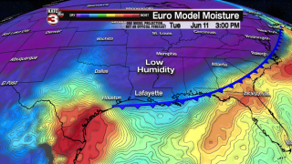 Spring cool front to bring drier air to Acadiana this week