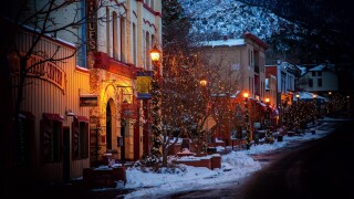 Holiday decorations are up in Manitou Springs