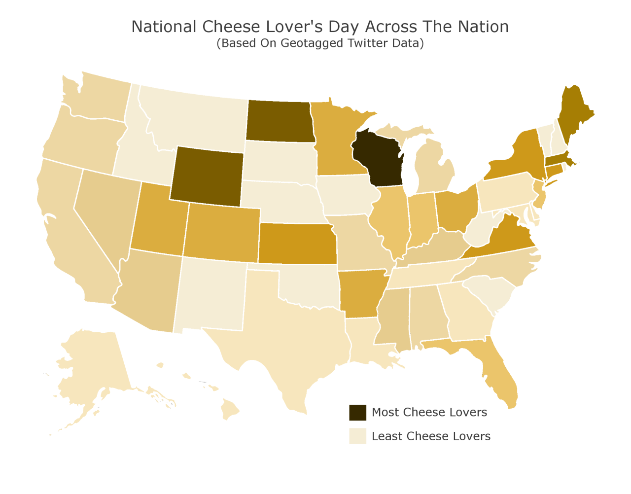 The highest concentration of cheese lovers in the country is in Wisconsin, according to The Daring Kitchen.