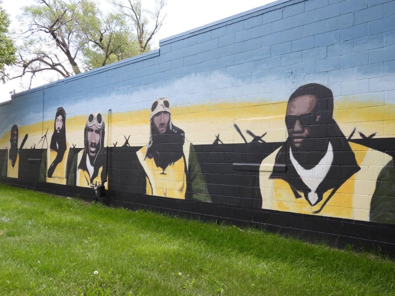Tuskegee Airmen mural at the Great Plains Black History Museum.jpg