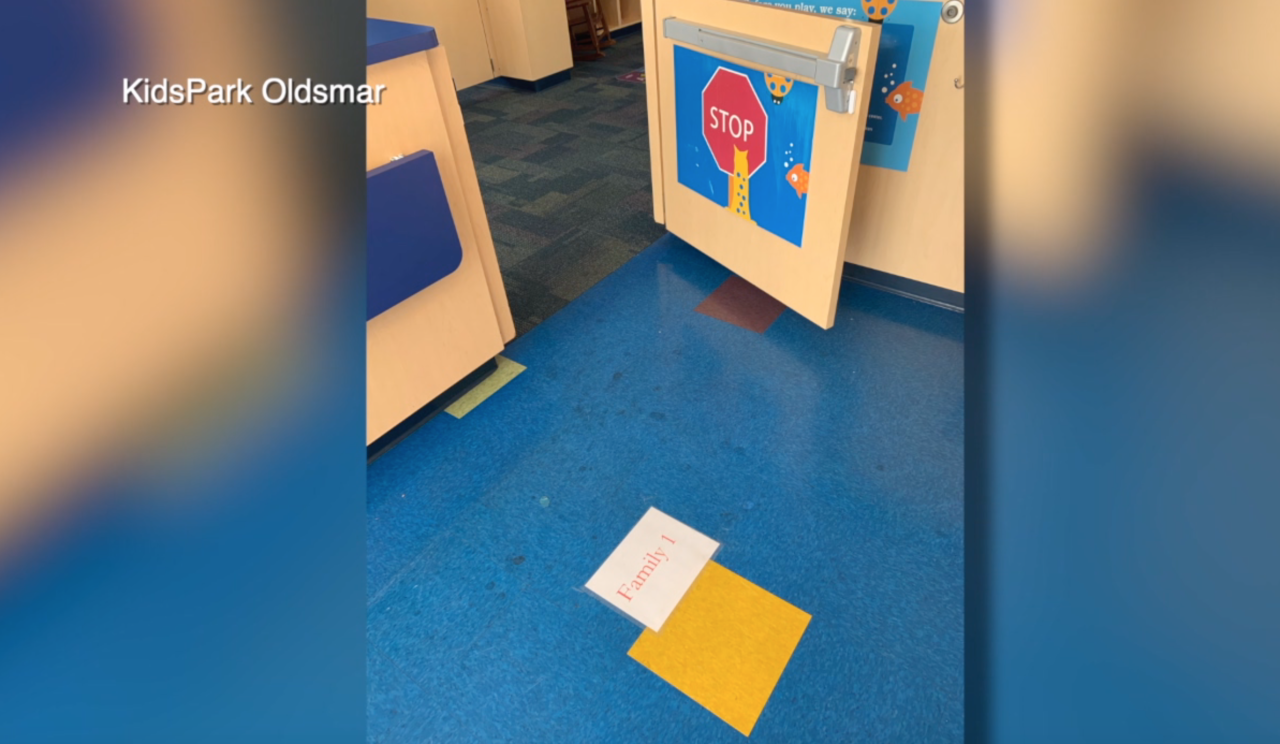 Markings on Floor at KidsPark Oldsmar for Social Distancing