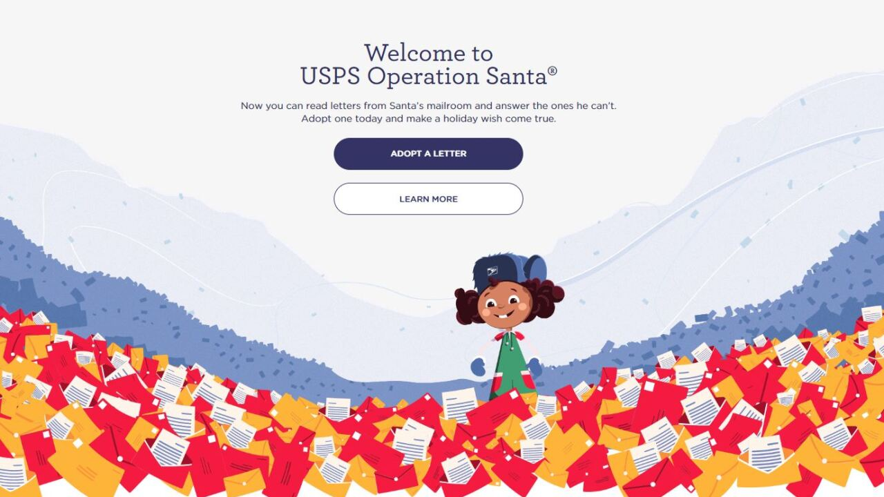 Make a child's Christmas wish come true through the USPS 'Operation Santa' letter adoption program