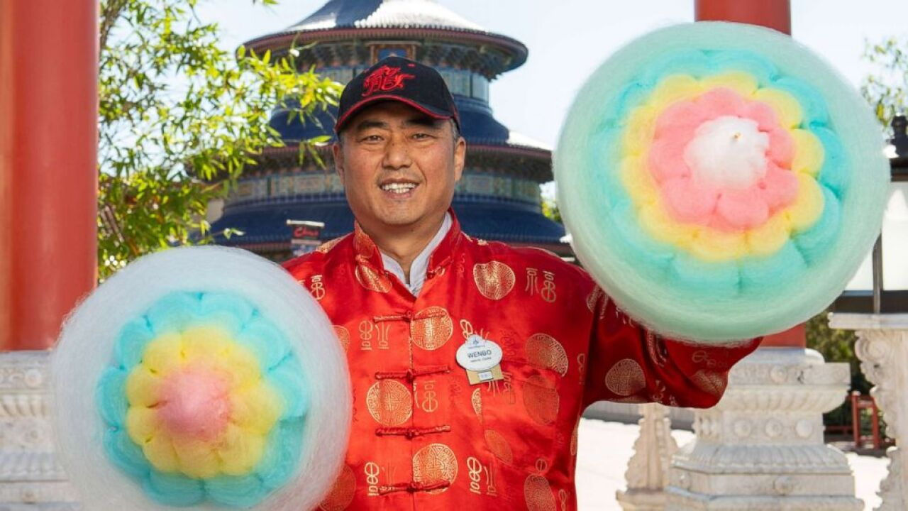 Check out this 5-layer Chinese cotton candy being sold at Disney World