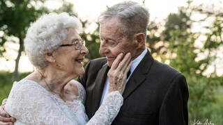 Couple dresses up in original wedding attire for 60th anniversary photo shoot