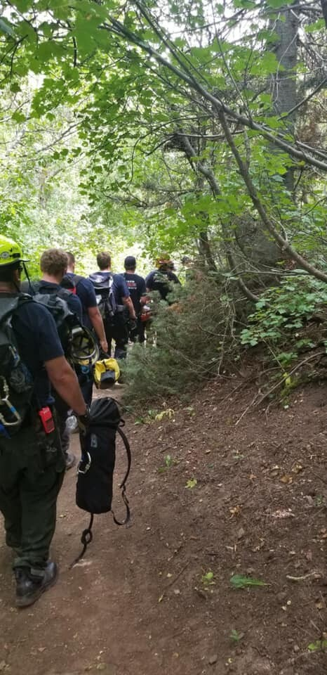 Photos: Weber County crews rescue man who fell at the waterfall on the North Fork Trail