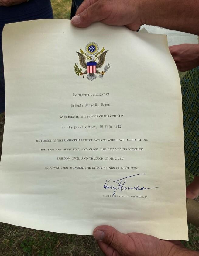 Letter from President Truman to Evans