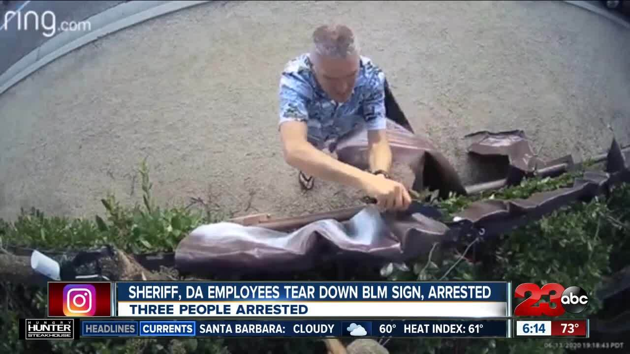 Sheriff employee, DA employees tear down BLM sign in Venture