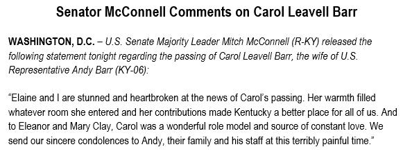 Mitch McConnell statement on Carol Barr