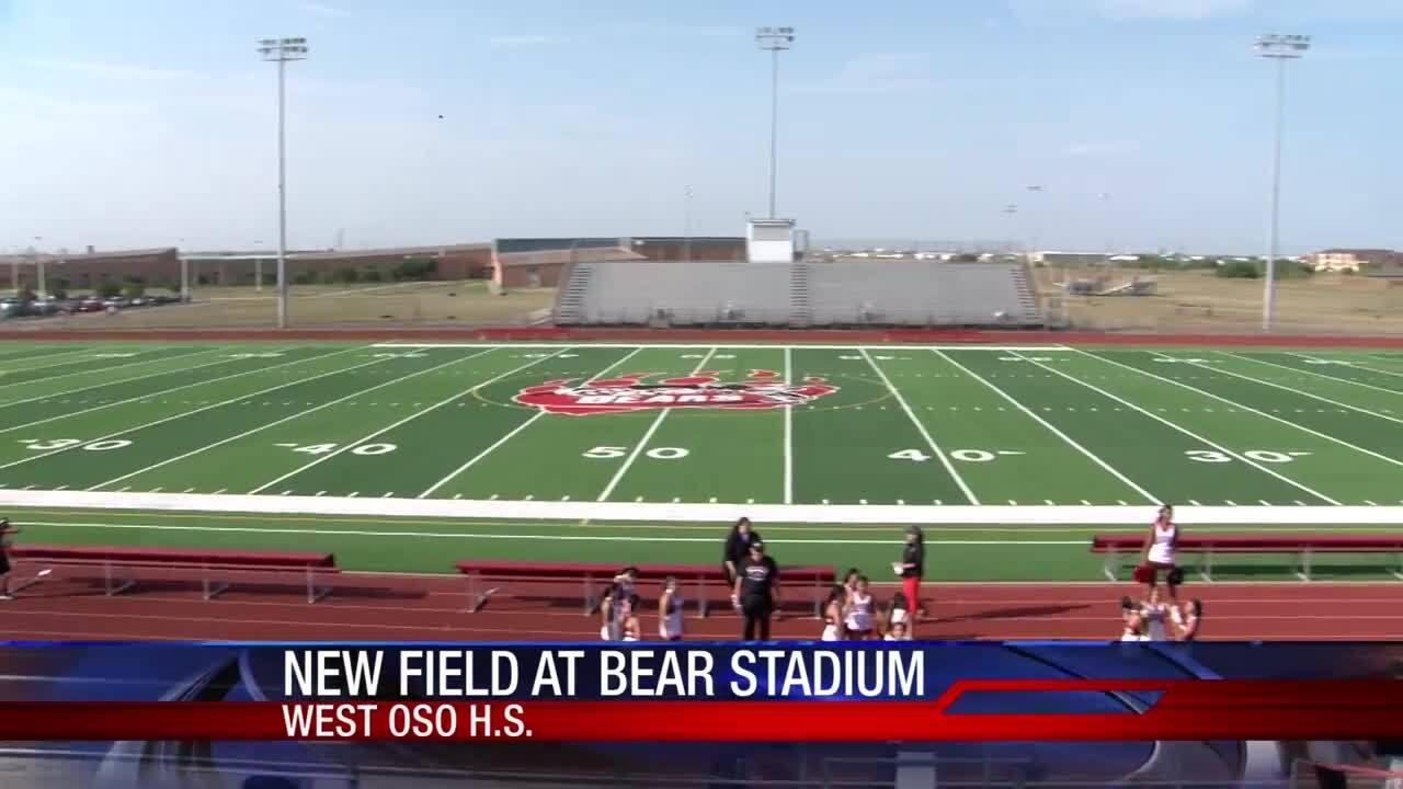There's new artificial turf at West Oso High School's Bear Stadium
