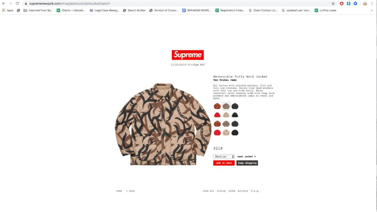 120119 SUPREME PUFFY WORK JACKET.JPG