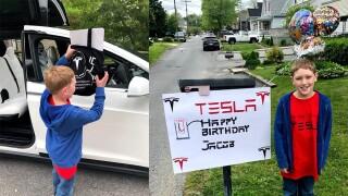 "Maryland Tesla Owners Club celebrates Jacob's 11th birthday with ""Tesla drive by"""