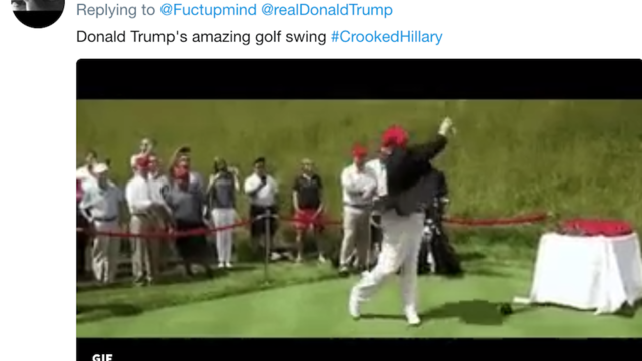 President Trump retweets GIF of him hitting Hillary Clinton with golf ball