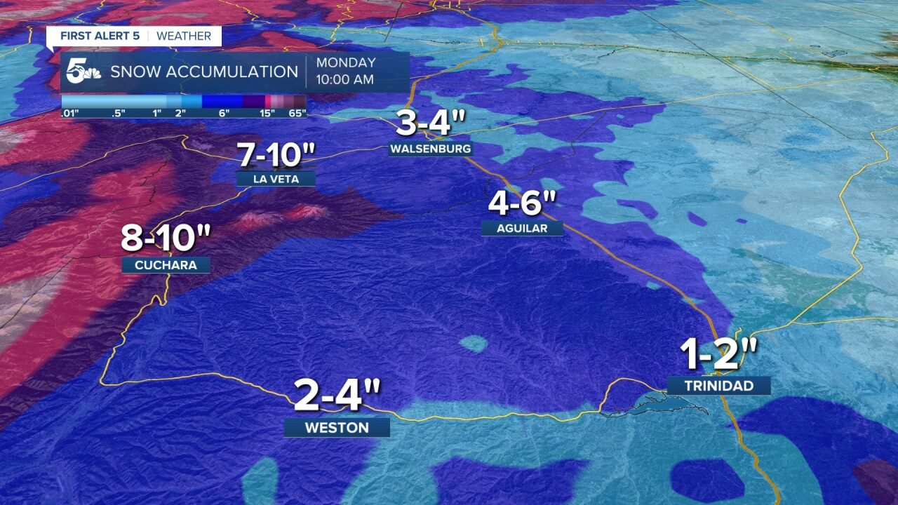 southern i25 snow forecast