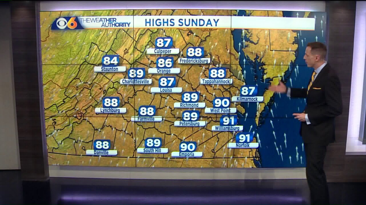 Hotter and more humid weather heading back to Virginia
