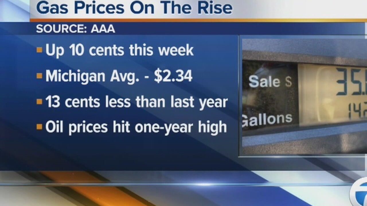 AAA Michigan: Statewide average gas prices jump 10 cents