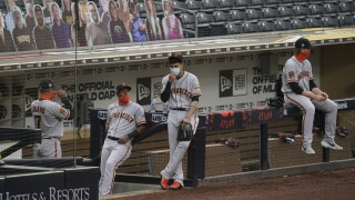 The Giants after hearing their game against the San Diego Padres had been postponed