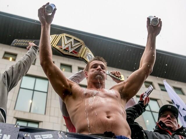 PHOTOS: Patriots TE Rob Gronkowski enjoying himself at Super Bowl victory parade