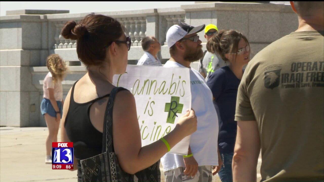 Advocates for medical marijuana ballot initiative rally at Utah StateCapitol