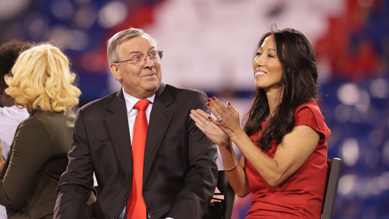Terry and Kim Pegula speak with reporters at NFL Owners Meetings