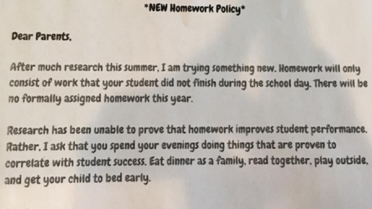 Texas teacher's 'no homework' policy goes viral