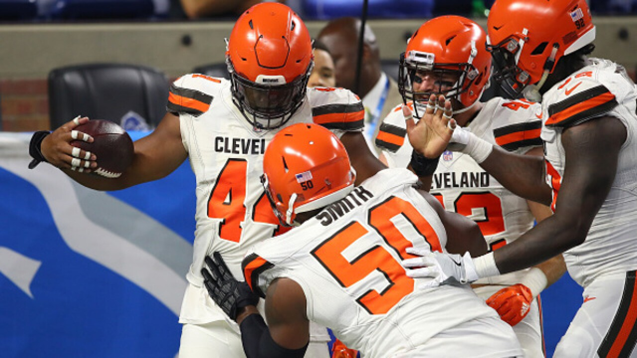 Baker Mayfield sharp as Browns roll over Lions 35-17