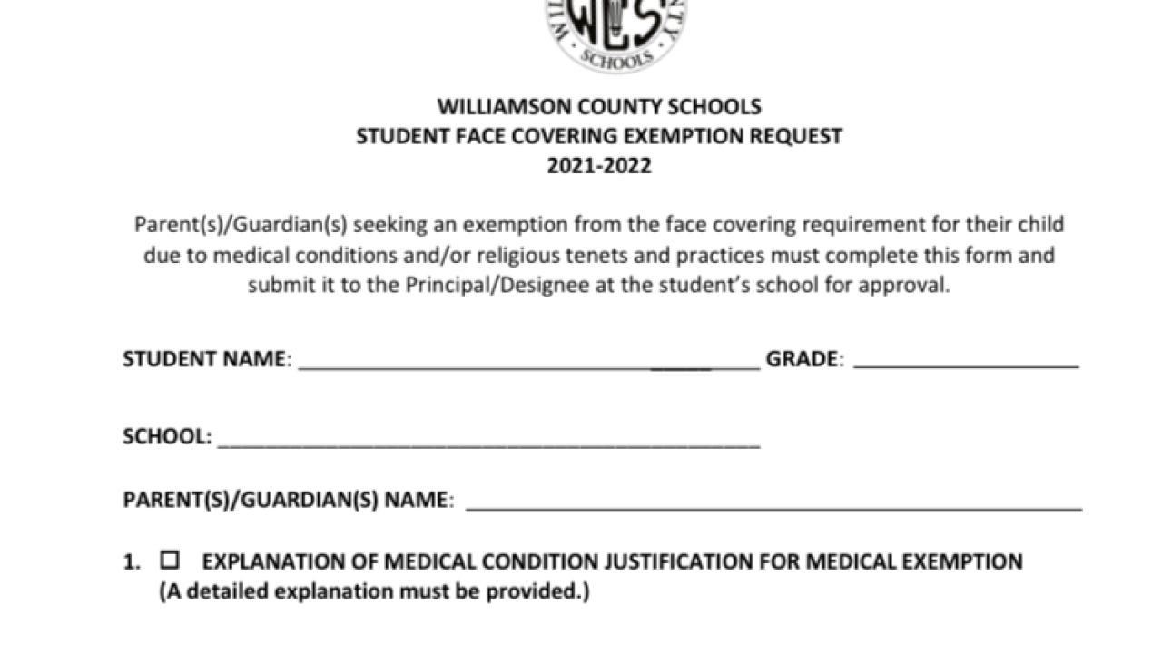 Medical and Religious Mask Exemption Form